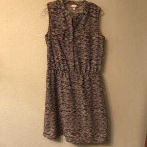 Merona Black Empire waist 1/2 Button down Dress M